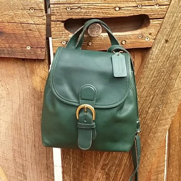 5914fc90d4e5 Coach Handbags - Vintage Coach Green Leather Mini backpack purse